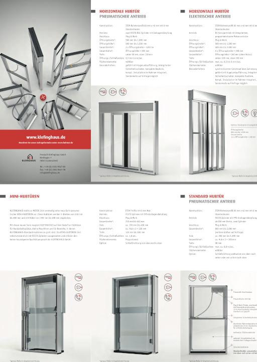 Broschüre Klefinghaus Mini-Hubtüren