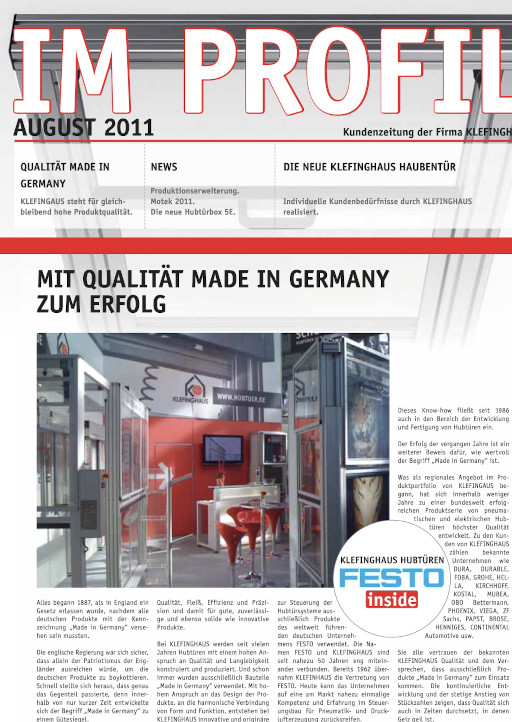 Die August-Ausgabe 2011 unserer Kundenzeitung