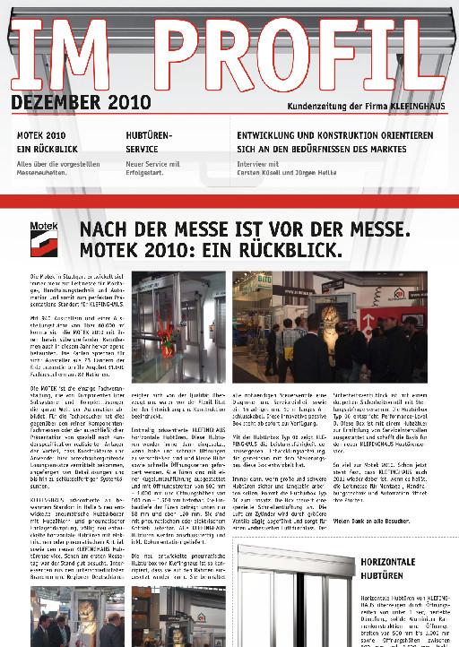 Die Dezember-Ausgabe 2010 unserer Kundenzeitung