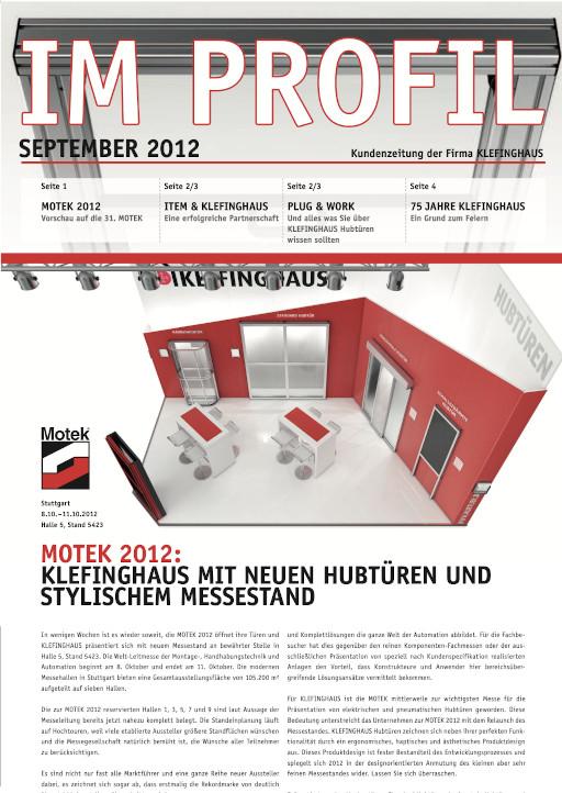 Die September-Ausgabe 2012 unserer Kundenzeitung