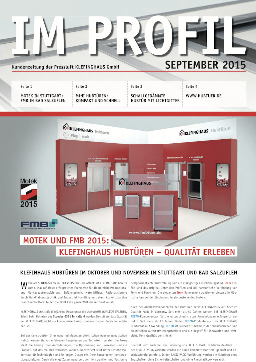 Die September-Ausgabe 2015 unserer Kundenzeitung