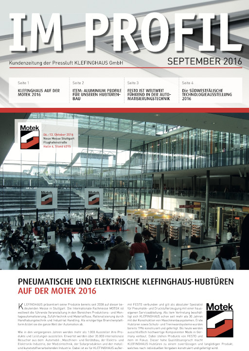 Die September-Ausgabe 2016 unserer Kundenzeitung