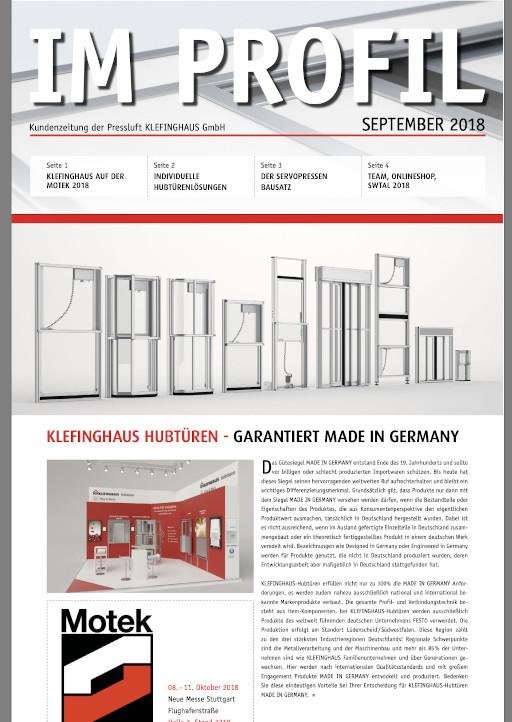 Die September-Ausgabe 2018 unserer Kundenzeitung