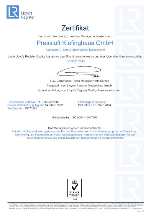 Klefinghaus nach ISO 9001-2015 bis 2022 zertifiziert